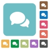 Discussion white flat icons on color rounded square backgrounds - Discussion rounded square flat icons
