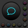 Empty comment bubble dark push buttons with color icons - Empty comment bubble dark push buttons with vivid color icons on dark grey background