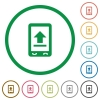 Mobile upload flat icons with outlines - Mobile upload flat color icons in round outlines on white background