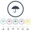 Umbrella flat color icons in round outlines - Umbrella flat color icons in round outlines. 6 bonus icons included.
