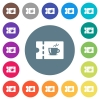 Coffee house discount coupon flat white icons on round color backgrounds - Coffee house discount coupon flat white icons on round color backgrounds. 17 background color variations are included.