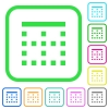 Top border vivid colored flat icons - Top border vivid colored flat icons in curved borders on white background