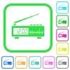 Vintage radio clock vivid colored flat icons in curved borders on white background - Vintage radio clock vivid colored flat icons