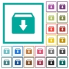 Archive flat color icons with quadrant frames - Archive flat color icons with quadrant frames on white background