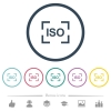 Camera iso speed setting flat color icons in round outlines - Camera iso speed setting flat color icons in round outlines. 6 bonus icons included.
