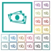 More banknotes with portrait flat color icons with quadrant frames - More banknotes with portrait flat color icons with quadrant frames on white background