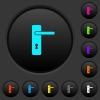 Right handed simple door handle dark push buttons with color icons - Right handed simple door handle dark push buttons with vivid color icons on dark grey background