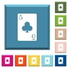 five of clubs card white icons on edged square buttons - five of clubs card white icons on edged square buttons in various trendy colors