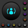 Syncronize contacts dark push buttons with color icons - Syncronize contacts dark push buttons with vivid color icons on dark grey background