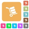 Hand truck with boxes rounded square flat icons - Hand truck with boxes flat icons on rounded square vivid color backgrounds.