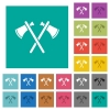Two tomahawks square flat multi colored icons - Two tomahawks multi colored flat icons on plain square backgrounds. Included white and darker icon variations for hover or active effects.