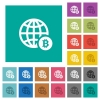 Online Bitcoin payment square flat multi colored icons - Online Bitcoin payment multi colored flat icons on plain square backgrounds. Included white and darker icon variations for hover or active effects.