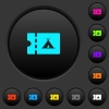 Camping discount coupon dark push buttons with color icons - Camping discount coupon dark push buttons with vivid color icons on dark grey background