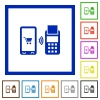 Mobile payment flat framed icons - Mobile payment flat color icons in square frames on white background