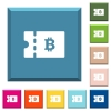 Bitcoin discount coupon white icons on edged square buttons - Bitcoin discount coupon white icons on edged square buttons in various trendy colors