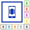 Setting up mobile homescreen flat framed icons - Setting up mobile homescreen flat color icons in square frames on white background