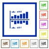 Network statistics flat framed icons - Network statistics flat color icons in square frames on white background