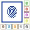 Fingerprint flat framed icons - Fingerprint flat color icons in square frames on white background