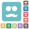 Glasses and mustache rounded square flat icons - Glasses and mustache white flat icons on color rounded square backgrounds