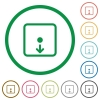 Move object down flat icons with outlines - Move object down flat color icons in round outlines on white background