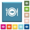 Fish for lunch white icons on edged square buttons - Fish for lunch white icons on edged square buttons in various trendy colors