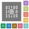 Digital fingerprint square flat icons - Digital fingerprint flat icons on simple color square backgrounds