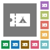 Camping discount coupon square flat icons - Camping discount coupon flat icons on simple color square backgrounds