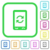 Mobile syncronize vivid colored flat icons - Mobile syncronize vivid colored flat icons in curved borders on white background