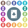 Eight of clubs card flat white icons on round color backgrounds - Eight of clubs card flat white icons on round color backgrounds. 17 background color variations are included.