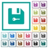 Encrypt file flat color icons with quadrant frames - Encrypt file flat color icons with quadrant frames on white background