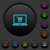 Webshop dark push buttons with color icons - Webshop dark push buttons with vivid color icons on dark grey background