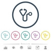 Stethoscope flat color icons in round outlines. 6 bonus icons included. - Stethoscope flat color icons in round outlines
