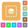 Place layer rounded square flat icons - Place layer flat icons on rounded square vivid color backgrounds.