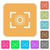Camera brightness setting rounded square flat icons - Camera brightness setting flat icons on rounded square vivid color backgrounds.