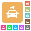 Electric car with connector flat icons on rounded square vivid color backgrounds. - Electric car with connector rounded square flat icons