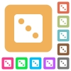 Dice three rounded square flat icons - Dice three flat icons on rounded square vivid color backgrounds.