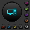 Desktop computer dark push buttons with color icons - Desktop computer dark push buttons with vivid color icons on dark grey background