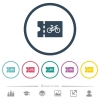 Bicycle shop discount coupon flat color icons in round outlines - Bicycle shop discount coupon flat color icons in round outlines. 6 bonus icons included.
