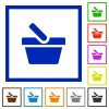 Shopping basket flat framed icons - Shopping basket flat color icons in square frames on white background