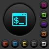 OS command terminal dark push buttons with vivid color icons on dark grey background - OS command terminal dark push buttons with color icons