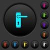Right handed door handle with screws dark push buttons with color icons - Right handed door handle with screws dark push buttons with vivid color icons on dark grey background