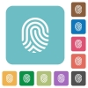 Fingerprint rounded square flat icons - Fingerprint white flat icons on color rounded square backgrounds