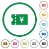 Japanese Yen discount coupon flat icons with outlines - Japanese Yen discount coupon flat color icons in round outlines on white background