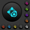 Size lock dark push buttons with vivid color icons on dark grey background - Size lock dark push buttons with color icons