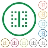 Vertical border flat icons with outlines - Vertical border flat color icons in round outlines on white background