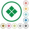 Diagonal tile pattern flat icons with outlines - Diagonal tile pattern flat color icons in round outlines on white background