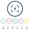 Camera flash mode flat color icons in round outlines - Camera flash mode flat color icons in round outlines. 6 bonus icons included.