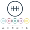Graphical equalizer flat color icons in round outlines - Graphical equalizer flat color icons in round outlines. 6 bonus icons included.