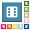 Dice six white icons on edged square buttons - Dice six white icons on edged square buttons in various trendy colors