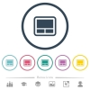 Laptop touchpad flat color icons in round outlines - Laptop touchpad flat color icons in round outlines. 6 bonus icons included.